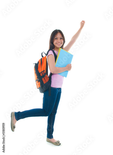 teenage malay college female student with white background