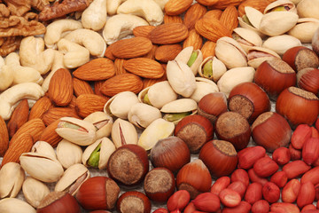 Different kind of nuts lie strips