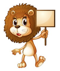 A lion holding an empty sign board