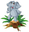 A tree with a young gray elephant