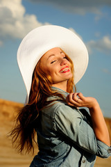 attractive, beauty, fun, girl, hat, natural, smiling,