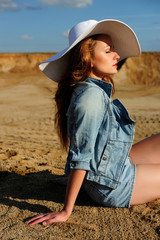attractive, girl, hat, natural, relax, women, young