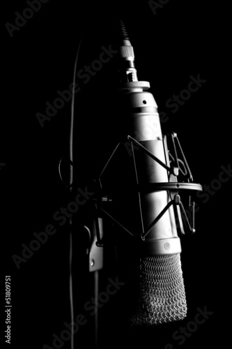 Musical Studio Microphone - Black Background