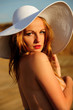 attractive, beauty, blonde, face, girl, looking, hat, natural,
