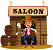 A man holding a gun outside the saloon bar