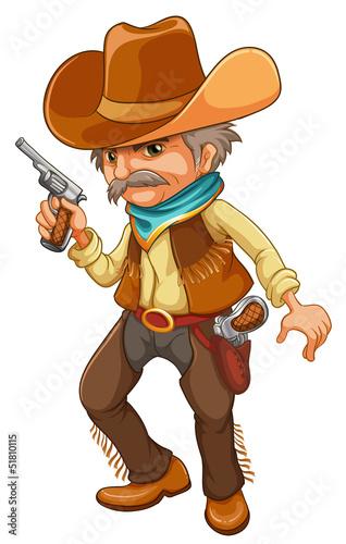 Fotobehang Boerderij A cowboy holding a gun