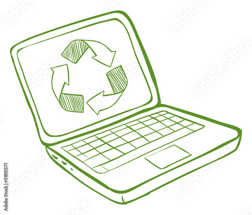 A laptop with a recycle symbol