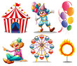 A circus tent, clowns, ferris wheel, balloons and a ring of fire