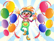 A clown in the middle of the balloons with flowers