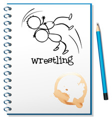 A notebook with a drawing of a wrestler