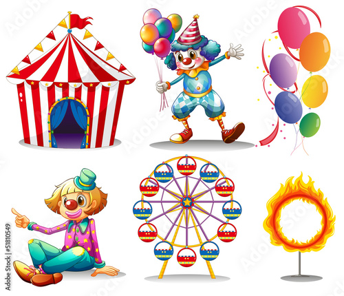 In de dag Indiërs A circus tent, clowns, ferris wheel, balloons and a ring of fire