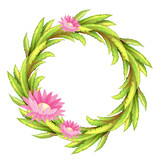 A green border with pink flowers
