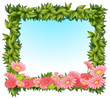 A framed leaves with pink flowers
