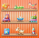 Three wooden shelves with toys