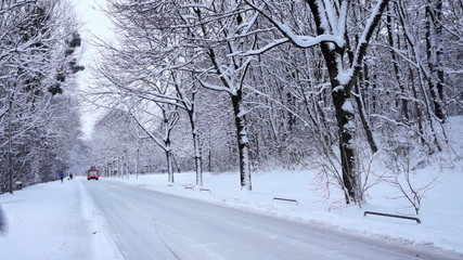 Snow covered road in winter landscape