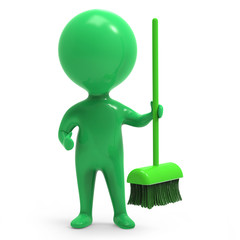 Little green man hands you a broom