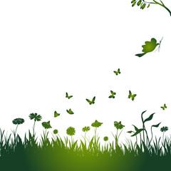 blumenwiese, blume, blüte, schmetterling, vogel, grün, vektor