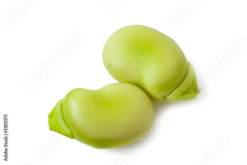 Broad beans on white background_III