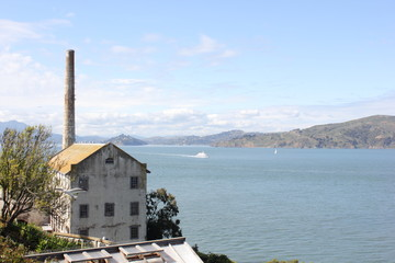 Ruins of Alcatraz prison on the rock in San Francisco,march 2013