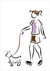 chica y perro paseando trazos
