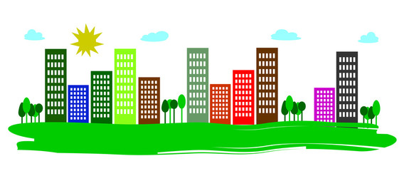 metropoli urbana con Grattacieli su sfondo bianco