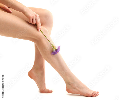 Beautiful woman legs, isolated on white