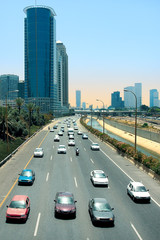 Cars passing on Ayalon freeway in Tel Aviv, Israel.