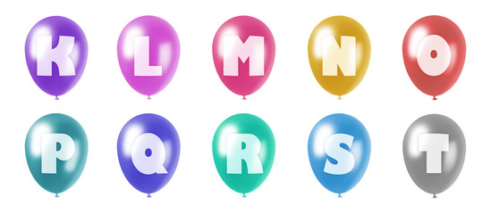 alphabet balloons set k-t