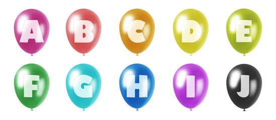 alphabet balloons set a-j
