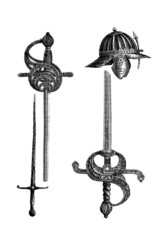 Ancient Swords & Helm - 13th & 16th century