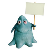 3d cartoon octopus monster holding placard