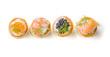 Leinwandbild Motiv Blätterteigpasteten mit Lachs, Kaviar und Garnelen