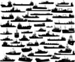 Set of 48 silhouettes of sea yachts, towboat and the ships