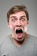 Caucasian Man Wide Mouthed Scream Portrtait