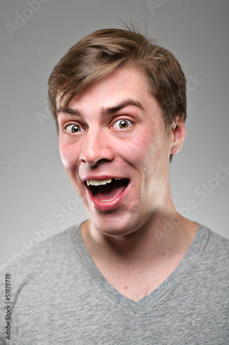 Caucasian Man Smiling With Missing Tooth Portrtait