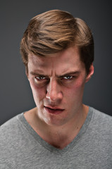 Caucasian man with a psychopathic stare portrtait