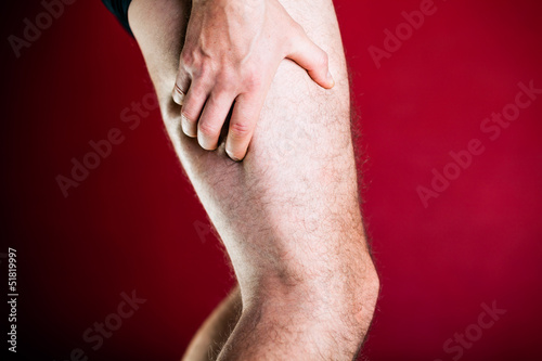 Running physical injury, leg pain. Runner sore body after exerci