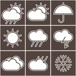 Black and white weather signs