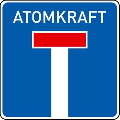 Sackgasse Atomkraft, konzeptuelles Bild,Verkehrsschild