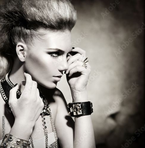 Fashion Rocker Style Model Girl Portrait. Black and White