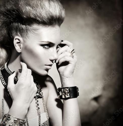 Fashion Rocker Style Model Girl Portrait. Black and White