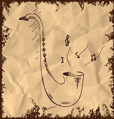 Saxophone icon isolated on vintage background