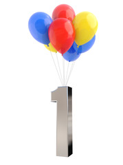 Colorful Balloons with metallic Number 1