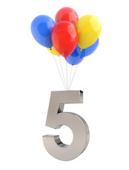Colorful Balloons with Number 5