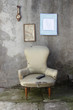 vintage armchair and modern remote control