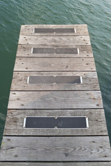Wooden boarding bridge