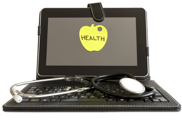 Digital tablet pc and stethoscope, health concept