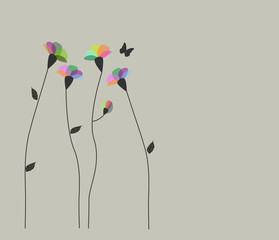 vettoriale con fiori e petali di diversi colori