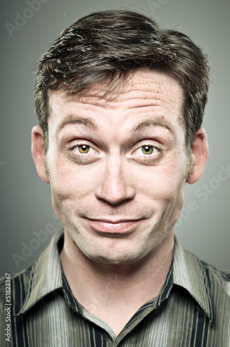 Young Caucasian Man Smug Expression Portrait