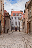 Vintage city street with paving stone